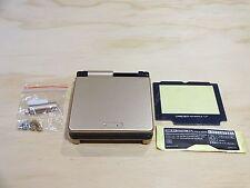 GBA SP Game Boy Advance SP Housing Shell GLASS Screen Lens Gold + Black!