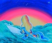 Psychedelic Colorful Surfing, Surfer on a Surfboard in the Ocean Sunset Painting