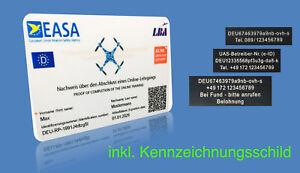 EU Drohnen Führerschein Kl. A1/A3 Kompetenznachweis Scheckkarte inkl. Plakette