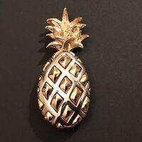 Vintage Liz Claiborne Silver & Gold Tone Pineapple Pin Brooch