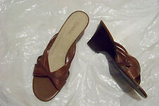 womens connie make a wish brown leather strappy wedge heels shoes size 9