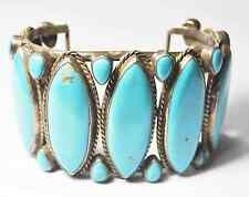 Large Turquoise Sterling Silver Handcrafted Unsigned Bangle Cuff Bracelet 57mm