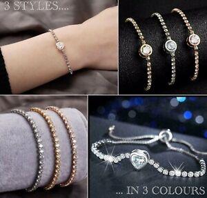 Crystal Bracelet Rhinestone Tennis Friendship CZ Stone Diamante Adjustable Bling