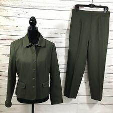 Talbots Petite Women's 2PC Wool Pant Suit Green Size 12
