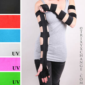 Cut Out Gloves Black Long Lace Up Sleeves Cyber Gothic Clothes Steampunk Costume