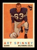 1959 Topps Football Set Break # 171 Art Spinney EX-MINT *OBGcards*