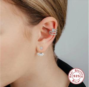 Sterling Silver Single Ear Cuff Earrings Non Pierced cuffs gold dainty clip on