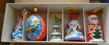set of 5 wood hand painted Russian Christmas ornament santa snowman #5s
