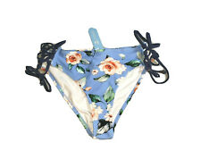 New listing Cupshe Size Medium Swimwear Bottoms ONLY Bikini Lace Up Sides Blue Floral_B106