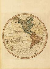 Mappa ANTICA Faden 1786 Western Nuovo mondo Emisfero REPLICA poster stampa pam0896