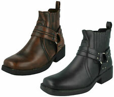 Mens Maverick Cowboy Biker Pull On Chelsea Gusset Sides Ankle Boots : A3027