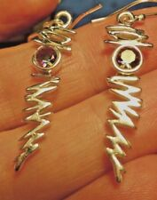 Superb Dangly Sterling Silver and Mystic Topaz Lightning Bolt Ear Rings