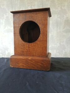 """VINTAGE OAK MANTEL CLOCK CASE 11"""" tall x 8"""" wide x 5""""  deep SOLID AND HEAVY"""