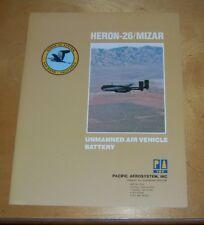 PACIFIC AEROSYSTEM HERON-26 / MIZAR UNMANNED AIR VEHICLE BATTERY BROCHURE 1988