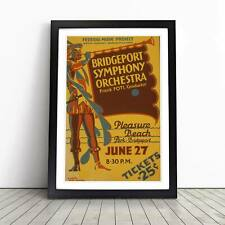 Vintage WPA Poster Symphony Orchestra Framed Picture Print Home Décor Wall Art