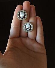 Orecchini in argento 925 Cammeo sardonico bottone zirconi made in Italy