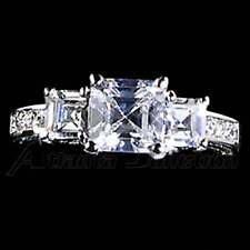 PYRAMID CUT_3-STONE_CLEAR CZ ENGAGEMENT RING__ SZ-9__925 STERLING SILVER - NF