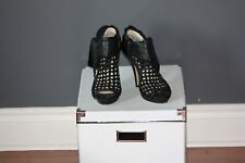 Boutique 9 Black Mesh Peep Toe Booties with Bow, Size 8.5 Retail $350