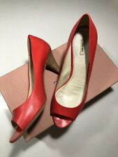 Pre-owned: Miu Miu Coral Leather Open Toe Pumps Heels Size 38.5 8.5