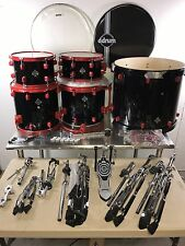 "DDrum Diablo Punx 5 Piece Drum Set LOADED with Hardware! Black w/ Red 22"" Bass"