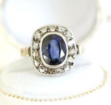 Antiker früher Biedermeier Ring aus 14ct Gelbgold Safir + Diamanten 19.Jhd A3083