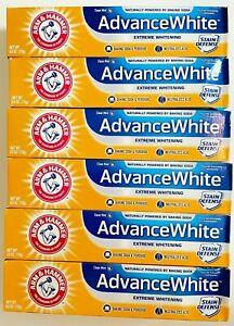 6 ARM HAMMER Advance White Stain Toothpaste Lot Baking Soda  6.0oz each