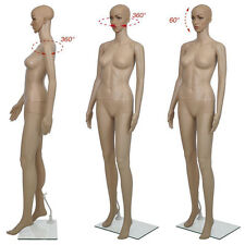 Female Mannequin Plastic Display Head Turn Full Body Dress Form w/Base Skin Colo