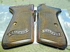 WALTHER PPK/S WALNUT FULLY CHECKERED GRIPS W/ WALTHER BANNER ARKANSAS VERSIONS