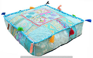 """Indian Handmade Square Patchwork Ottoman Floor Pouf 16"""" Throw Stool Pillow Cover"""
