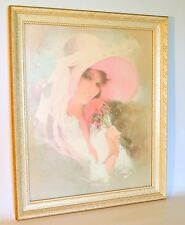 Vintage Wood Frame White and Gold Lady with Hat Print Murray Dewittville