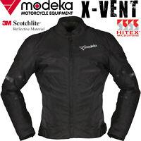 MODEKA Sommer Motorradjacke X-VENT schwarz wasserdicht 3M Protektoren Gr. L