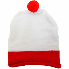 NEW LADIES WOMENS FANCY DRESS PARTY BOBBLE HAT RED WHITE STRIPES HEN STAG WORLD