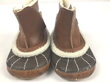 Izod newborn infant brown suede and fur boots So Cute