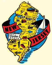 New Jersey  state map  NJ     Vintage 1950's-Style   Travel Decal/Sticker