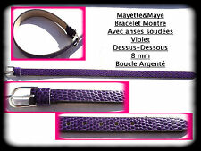 for watch with welded loops/* Watch strap leather violet 8 mm