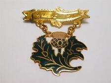 Vintage Scottish Thistle 10K Gold & Enamel Pin Back Medal or Brooch DOS Mono