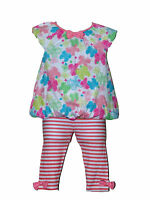 Pitter Patter Baby Girl 2 PIECE Butterfly Print TOP and Stripped LEGGING SET