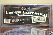 50 BCW Large Currency Rigid Toploader Bill FUNNYBACK Banknote Holder PVC Case
