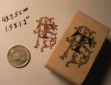 Decorative Letter T rubber stamp WM 1.6""