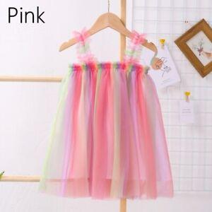 Girl Tutu Skirt Mesh Rainbow Glitter Dress Sleeveless Fairy Cosplay Thin Summer