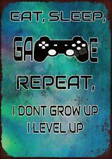 Eat Sleep Game metal wall sign