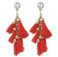 Dainty Gold Women Red Tassel Long Drop Dangling Earrings Chandelier Tassels