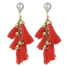 Dainty Gold Women Red Tassel Long Drop Dangling Earrings Chandelier Tassels