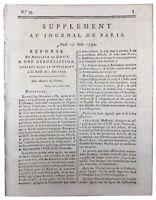 Lettre de M de Gouy Député de Saint Domingue 1790 Haïti Colonie Révolution