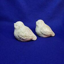 Small Cast Stone Bird Statuette for Garden or Indoor Decor 2 lot