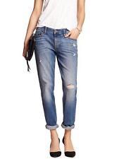 16597 Banana Republic Womens Blue Wash Cuffed Ripped Girlfriend Jeans 14/32 $69