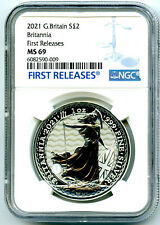 2021 GREAT BRITAIN 1OZ SILVER BRITANNIA NGC MS69 FIRST RELEASES - NEW SECURITY