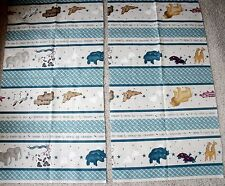 New Daisy Kingdom Animal Cracker Borders Cotton Fabric Pieces - Panda Rhino Seal