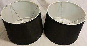 Black Set of 2 Hardback Drum Shades 13x11x9 (Spider)