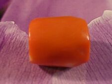 VINTAGE BRIGHT RED ORANGE CORAL BEAD 1950'S FLORIDA 18.5 BY 16.6 MM BARREL SHAPE